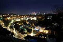 Luxembourg city panorama by night Royalty Free Stock Photo