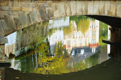 Luxembourg City reflections in water. Under bridge in autumn Stock Photos