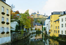 Luxembourg city from the river Stock Photos