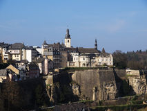 Luxembourg City With River Alzette. Luxembourg City Skyline with Church St. Francois Stock Photos
