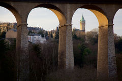 Luxembourg-City Savings Bank Panorama. View from under the huge viaduct on the State Savings Bank of Luxembourg (Banque et Caisse d'épargne du Luxembourg Stock Photography