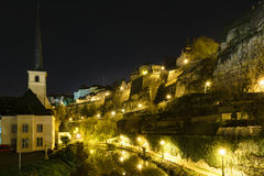 Luxembourg City skyline at night Stock Photography