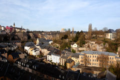Luxembourg city. The skyline of the town of Luxembourg with the European Court of Justice at the horizon and the city in the valley Stock Photography