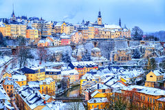 Luxembourg city snow white in winter, Europe. Old town of Luxembourg city snow white in winter, Europe Stock Photography