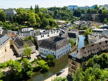 Luxembourg City. View on the Grund district of Luxembourg City and Alzette river Stock Image