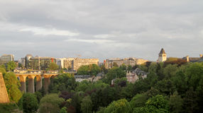 Luxembourg city. View of modern part of Luxembourg city and bridge Stock Photo