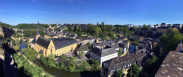 Luxembourg City - Ville de Luxembourg. Panoramic view of St John Neimenster and the Grund area of the city Stock Photography