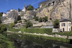 City Walls in Luxembourg City - Grand Duchy of Luxembourg Stock Image