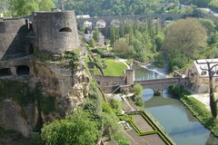 Luxembourg Cityscape. Aerial view of Benelux/Luxembourg cityscape tourist attractions Royalty Free Stock Photos