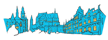 Luxembourg Colored Panorama. Filled with Blue Shape and Yellow Highlights. Scalable Urban Cityscape Vector Illustration Royalty Free Stock Photo