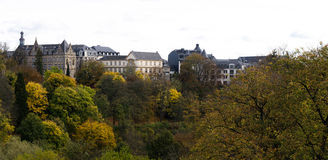 Luxembourg downtown. Taken from th eother side of the hill Stock Image