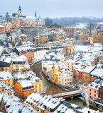 Luxembourg downtown. Luxembourg city snow covered at winter royalty free stock photos