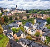 Luxembourg downtown. The Grub, old traditional part of Luxembourg city, and upper city Stock Image
