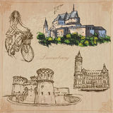 Luxembourg - travel. Vector illustrations. Travel: LUXEMBOURG (set no.2) - Collection of an hand drawn vector illustrations. Each drawing comprise three layers Stock Photography