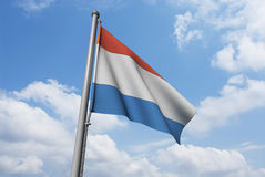 Luxembourg Flag with Clouds Stock Image