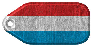 Luxembourg flag. Painted on wooden tag Stock Photo