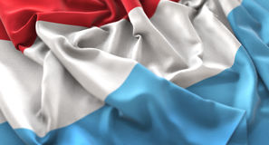 Luxembourg Flag Ruffled Beautifully Waving Macro Close-Up Shot. Studio royalty free stock photography