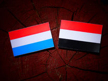 Luxembourg flag with Yemeni flag on a tree stump. Luxembourg flag with Yemeni flag on a tree stump Royalty Free Stock Photography