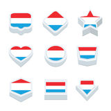 Luxembourg flags icons and button set nine styles Royalty Free Stock Photography