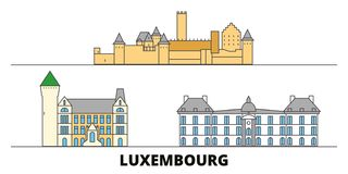 Luxembourg flat landmarks vector illustration. Luxembourg line city with famous travel sights, skyline, design. Luxembourg flat landmarks vector illustration royalty free illustration