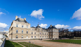 Luxembourg garden in a beautiful afternoon. Picture of Luxembourg Palace in Paris, France stock photography