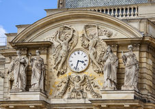 Luxembourg garden clock. On tower stock photo