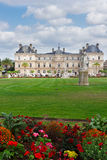 Luxembourg garden. With green lawn and flowerbed, Paris, France royalty free stock photos