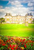 Luxembourg garden, Paris. Luxembourg garden with green lawn and flowerbed, Paris, France, retro toned stock photo