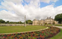 Luxembourg Garden (Jardin du Luxembourg) in Paris, France. Paris, France - July 7, 2015: Tourists admire the panorama of the beautiful Gardens of Luxembourg in stock photo