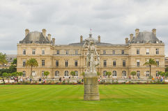 Luxembourg Garden(Jardin du Luxembourg) in Paris, France. Paris, France - July 7, 2015: Tourists admire the panorama of the beautiful Gardens of Luxembourg in royalty free stock image