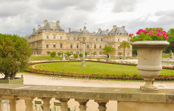 Luxembourg Garden (Jardin du Luxembourg) in Paris, France. Panorama of the beautiful Gardens of Luxembourg in Paris, France in summer Stock Images
