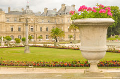Luxembourg Garden (Jardin du Luxembourg) in Paris, France. Panorama of the beautiful Gardens of Luxembourg in Paris, France in summer Royalty Free Stock Image