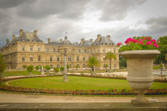 Luxembourg Garden (Jardin du Luxembourg) in Paris, France. Panorama of the beautiful Gardens of Luxembourg in Paris, France in summer Stock Photo