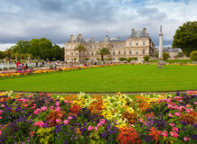 Luxembourg Garden, with Luxembourg Palace facade, Paris Stock Photos