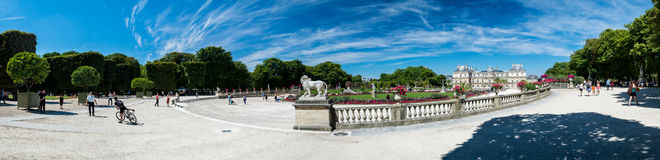 The Luxembourg Garden and the Luxembourg Palace. Paris, France - August 14, 2016: The Luxembourg garden covers 23 hectares and is known for the Luxembourg palace royalty free stock images