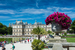 The Luxembourg Garden and the Luxembourg Palace. Paris, France - August 14, 2016: The Luxembourg garden covers 23 hectares and is known for the Luxembourg palace stock images