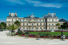 The Luxembourg Garden and the Luxembourg Palace. Paris, France - August 14, 2016: The Luxembourg garden covers 23 hectares and is known for the Luxembourg palace royalty free stock photo
