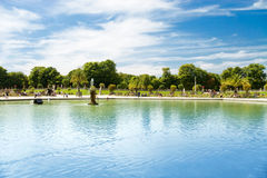 Luxembourg garden in Paris. Wide angle view stock image