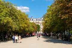 The Luxembourg Garden in Paris on a beautiful summer day. PARIS,FRANCE - AUGUST 1,2017 : The Luxembourg Garden in Paris on a beautiful summer day royalty free stock images