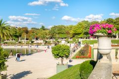 The Luxembourg Garden in Paris. On a beautiful summer day royalty free stock images