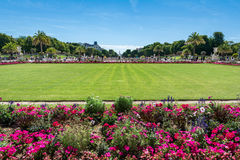 The Luxembourg Garden. Paris, France - August 14, 2016: The Luxembourg garden covers 23 hectares and is known for the Luxembourg palace stock photo