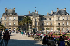 Luxembourg Garden in Paris. PARIS, FRANCE - SEPTEMBER 12, 2014: People relax in Luxembourg Gardens in Paris, France. Luxembourg area is popular among tourists stock image