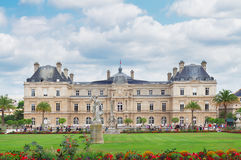 Luxembourg garden, Paris. Luxembourg garden with green lawn at summer day, Paris, France royalty free stock photography