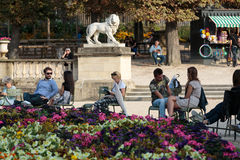 Luxembourg Garden in Paris. People relax in Luxembourg Gardens in Paris, France. Luxembourg area is popular among tourists in Paris, the most visited city stock photos