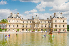 Luxembourg garden with pond. Luxembourg garden and famous pond with boats, Paris, France royalty free stock photos