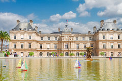 Luxembourg garden with pond. Luxembourg garden and large pond with boats, Paris, France royalty free stock photo