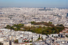 Luxembourg gardens anoramic view from Tower Montpa Stock Photos