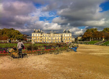 Luxembourg Gardens. In a cloudy day Stock Image