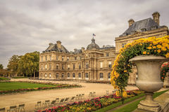 Luxembourg Gardens and Palace in Paris. Daytime at the Luxembourg Palace and Gardens with no people Royalty Free Stock Images
