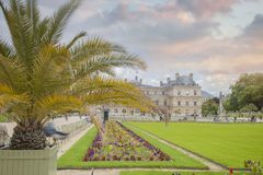 Luxembourg Gardens. Palace and park ensemble in the heart of Paris. Former royal, now national palace park royalty free stock images